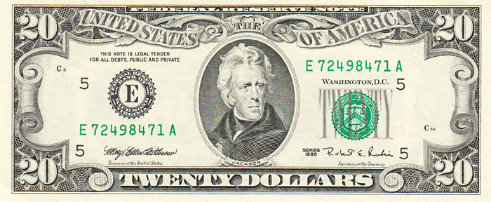 The Series 1995 $20 United States Bill